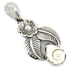 2.61cts natural white shiva eye 925 sterling silver flower pendant r77808