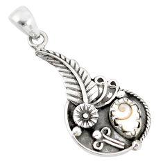 2.35cts natural white shiva eye 925 sterling silver flower pendant r77826