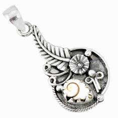 2.31cts natural white shiva eye 925 sterling silver flower pendant r77827