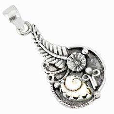 2.35cts natural white shiva eye 925 sterling silver flower pendant r77851