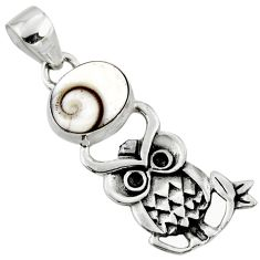 4.82cts natural white shiva eye 925 sterling silver owl pendant jewelry r52923