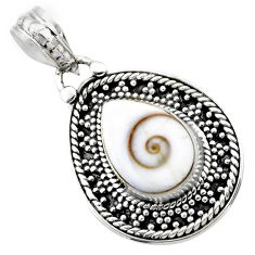 4.68cts natural white shiva eye 925 sterling silver pendant jewelry r53198