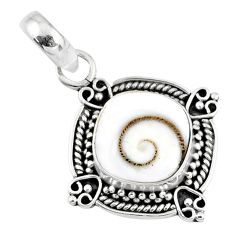 4.71cts natural white shiva eye 925 sterling silver pendant jewelry r57653