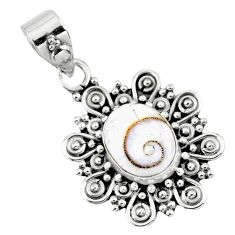 4.07cts natural white shiva eye 925 sterling silver pendant jewelry r57672
