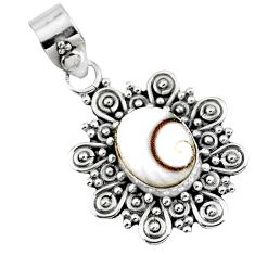 4.06cts natural white shiva eye 925 sterling silver pendant jewelry r57673