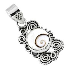3.93cts natural white shiva eye 925 sterling silver pendant jewelry r57712