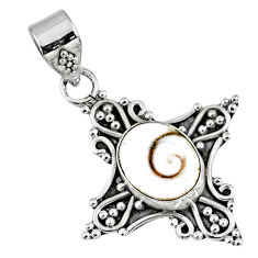 3.93cts natural white shiva eye 925 sterling silver pendant jewelry r57713