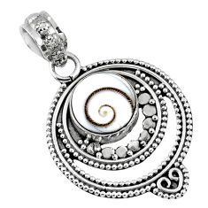 5.06cts natural white shiva eye 925 sterling silver pendant jewelry r57730
