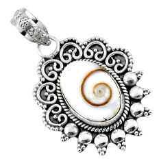 5.36cts natural white shiva eye 925 sterling silver pendant jewelry r57814