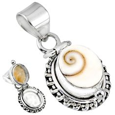 5.31cts natural white shiva eye 925 sterling silver poison box pendant r55665