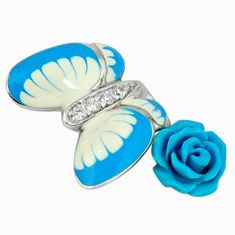 Natural white topaz enamel 925 silver butterfly with flower pendant c16971