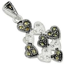 Natural white topaz marcasite 925 sterling silver pendant jewelry c22101