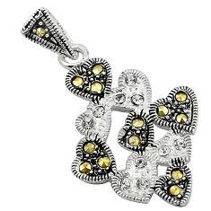 Natural white topaz marcasite 925 sterling silver pendant jewelry c22102