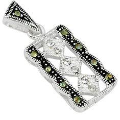 Natural white topaz marcasite 925 sterling silver pendant jewelry c22113