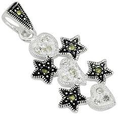 Natural white topaz marcasite 925 sterling silver pendant jewelry c22120