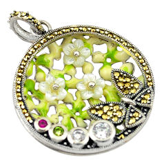 Natural white topaz marcasite enamel 925 silver butterfly pendant c16698
