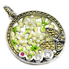 Natural white topaz marcasite enamel 925 silver flower pendant c16682