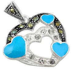 Natural white topaz marcasite enamel 925 sterling silver heart pendant c21836