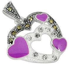 Natural white topaz marcasite enamel 925 sterling silver heart pendant c21969