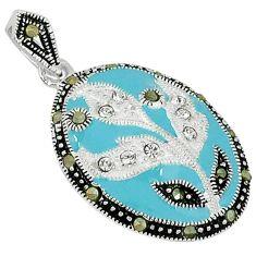 Natural white topaz marcasite enamel 925 sterling silver pendant c21975