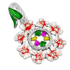 Natural white topaz multi color enamel 925 sterling silver pendant c19836