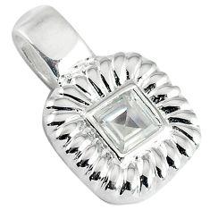 Natural white topaz square 925 sterling silver pendant jewelry c22762