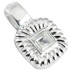 Natural white topaz square 925 sterling silver pendant jewelry c22764