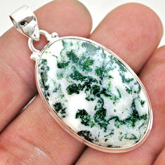23.92cts natural white tree agate 925 sterling silver pendant jewelry t42788