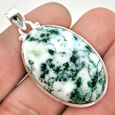 26.14cts natural white tree agate 925 sterling silver pendant jewelry t42789