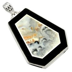 Clearance Sale- 49.59cts natural white wild horse magnesite 925 sterling silver pendant d42816