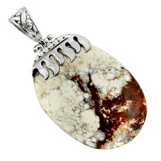 Clearance Sale- 48.10cts natural white wild horse magnesite 925 sterling silver pendant d45555