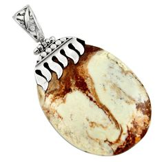 Clearance Sale- 43.14cts natural white wild horse magnesite 925 sterling silver pendant d45571