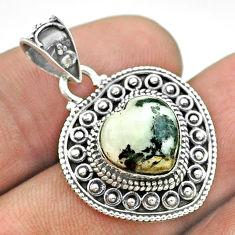 4.93cts natural white zebra jasper 925 sterling silver heart pendant t56176