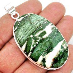 56.51cts natural white zebra jasper 925 sterling silver pendant jewelry t41860
