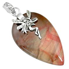 27.81cts natural willow creek jasper 925 silver angel wings fairy pendant r91121