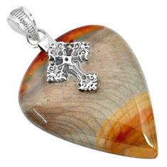 40.91cts natural willow creek jasper 925 silver holy cross pendant r91133