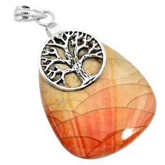 43.02cts natural willow creek jasper 925 silver tree of life pendant r91128