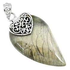 33.18cts natural willow creek jasper 925 sterling silver heart pendant r91139