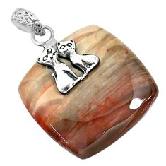 36.02cts natural willow creek jasper 925 sterling silver two cats pendant r91123