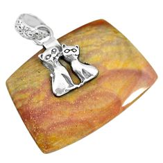 20.58cts natural willow creek jasper 925 sterling silver two cats pendant r91130