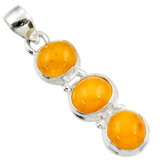 Clearance Sale- 11.20cts natural yellow amber bone 925 sterling silver pendant jewelry d43068