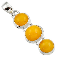 11.73cts natural yellow amber bone 925 sterling silver pendant jewelry d43071