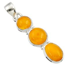 10.25cts natural yellow amber bone 925 sterling silver pendant jewelry d43078