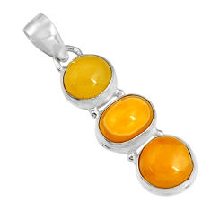9.29cts natural yellow amber bone 925 sterling silver pendant jewelry r19572