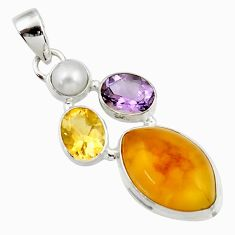 16.20cts natural yellow amber bone amethyst pearl 925 silver pendant d43072