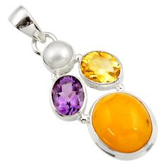 13.70cts natural yellow amber bone amethyst pearl 925 silver pendant d43077