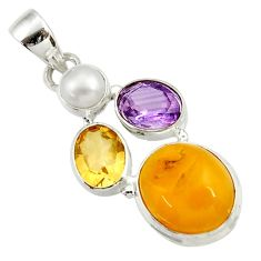 Clearance Sale- 14.45cts natural yellow amber bone amethyst pearl 925 silver pendant d43080