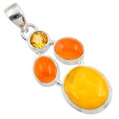 Clearance Sale- 11.44cts natural yellow amber bone cornelian (carnelian) silver pendant d43042