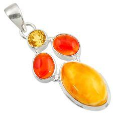 Clearance Sale- 14.23cts natural yellow amber bone cornelian (carnelian) silver pendant d43049