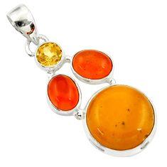 Clearance Sale- 14.40cts natural yellow amber bone cornelian (carnelian) silver pendant d43052